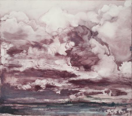 """Cloud Series #5"", 2015, 2015, oil on paper, 11 x 12.5"" image"