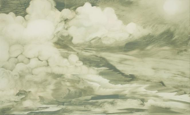 """Cloud Series #7"", 2015, oil on paper, 7 x 11.5"" image, 16 x 19"" framed"