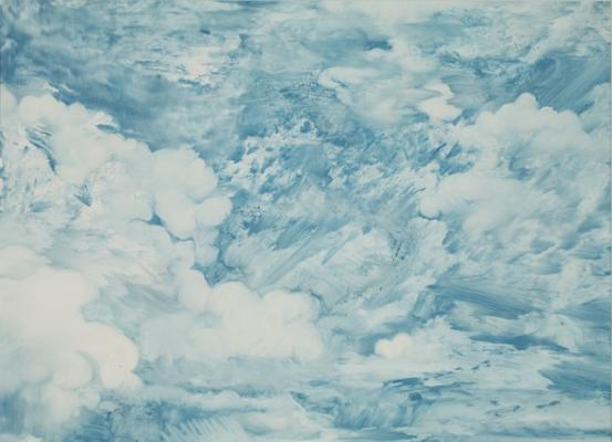 """""""Cloud Series #9"""", 2015, oil on paper, 10.5 x 14.5"""" image, 18 x 22"""" framed"""