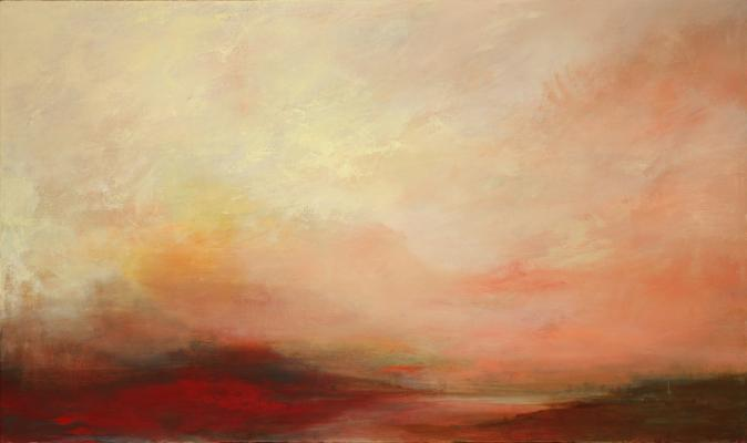 """Dusk 2"", 2015, oil on canvas, 28"" x 55"""