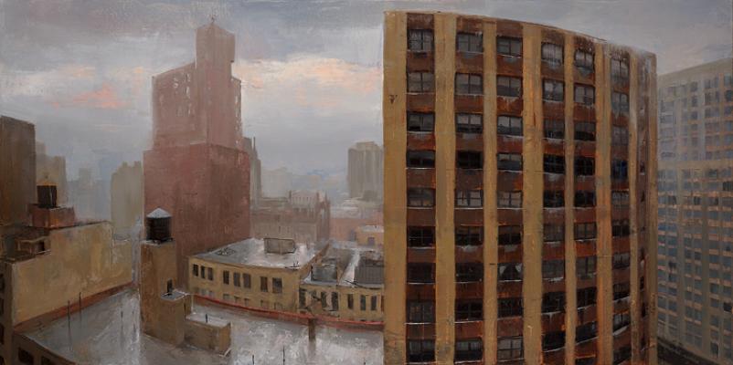 "Kenny Harris, ""Gramercy, Rainstorm"", 2015, oil on canvas, 24"" x 48"""