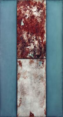 "Great Northern, 2015, Acrylic emulsion, dry and dispersed pigments, iron and copper oxides, glass microbeads on birch panels, 96"" x 52"""