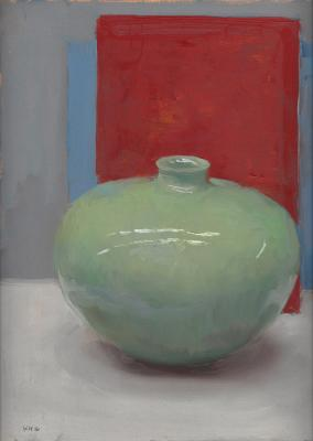 "Kenny Harris, ""Green Vessel on Red"", 2016, oil on paper mounted on panel, 12"" x 8.5"""