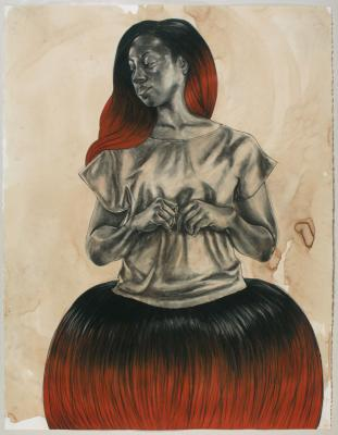 "Untitled (Hair Skirt), 2016, conté, pastel, colored pencil and charcoal, tea dyed paper, 50"" x 38"" unframed"