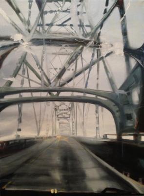 """Laura Hamje, """"Astoria Rain"""", 2014,oil on linen, 40 x 30"""""""