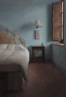 "Kenny Harris, ""Tuscany series: The Blue Walls"", 2013, oil on canvas, 44 x 30"""