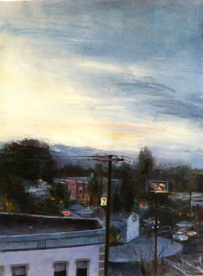 "Sally Cleveland, ""Hawthorne Street at Night"", 2013, oil on paper, 10.5"" x 8"""