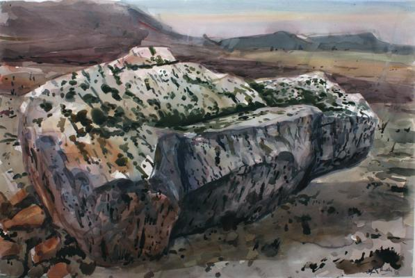 "Henk Pander, ""Tank, Miller Homestead Fire"", 2012, watercolor on paper, 40 x 60"""