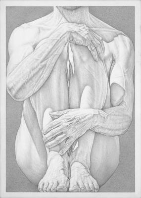 "Robert Schultz, ""Hold"", 2015, silverpoint drawing on gessoed panel, 7"" x 5"""