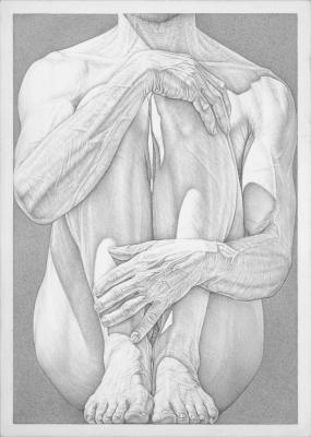"""Robert Schultz, """"Hold"""", 2015, silverpoint, 7"""" x 5"""""""