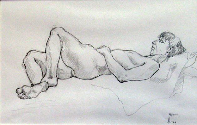 "Phillip Levine, ""Horizontal"", 2010, graphite on paper, 9 x 14"" image"