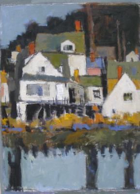 """""""Houses with Bay"""", 2017, acrylic on panel, 24 x 18"""""""