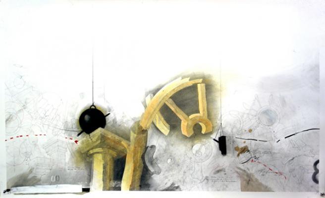 "Fred Birchman, ""Fog"", 2013, mixed media on paper, 31 x 51"""