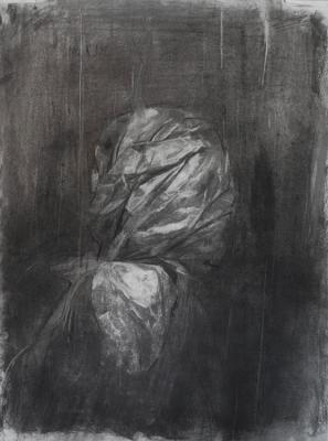 "Amy Huddleston, ""Bagged"", 2016, charcoal on paper, 24 x 18"""
