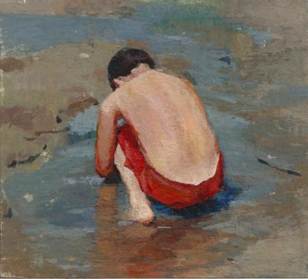 "Amy Huddleston, ""Boy on teh Beach"", 2012, acrylic, 6 x 6"""
