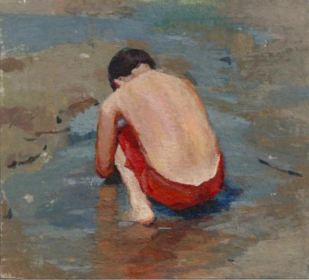 "Amy Huddleston, ""Boy on teh Beach"", 2012, acrylic, 6 x 6"""