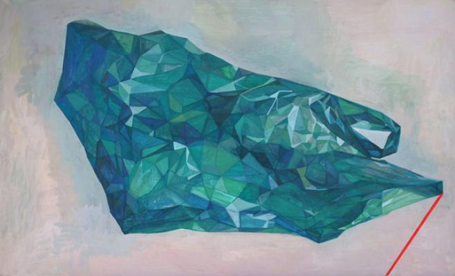 "Amy Huddleston, ""Green Bag"", 2016, casein, 17 x 28"""