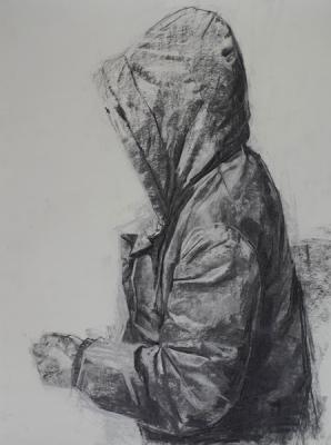 "Amy Huddleston, Hoodie, 2016, charcoal on paper, 24 x 18"""