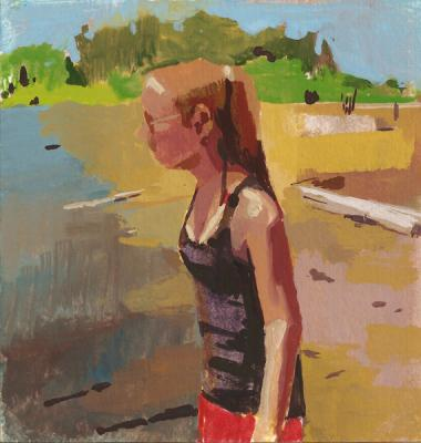 "Amy Huddleston, ""Juanita Beach"", 2012, gouache, 4.75 x 4.5"""