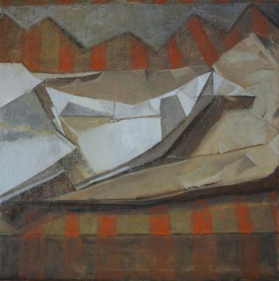 "Amy Huddleston, ""Paper Bird, Bag & Stripes"", 2014, oil on canvas, 12 x 12"""