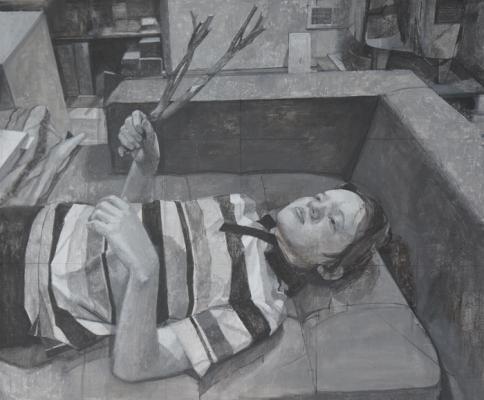 """Stephen Posing 2"", 2013, casein on canvas, 31 x 37.5"" framed"