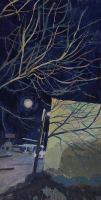 "Amy Huddleston, ""Tree Shadow by the Alibi Room"", 2015, gouache, 9 x 4.7"""