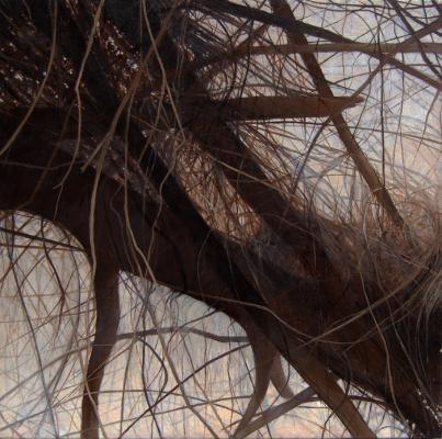 "Kimberly Clark, ""Hunting Island"", 2017, oil on canvas, 16"" x 16"""