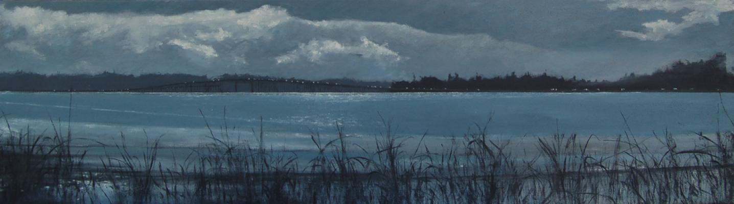 """I-5 in Blue"", 2015, oil on canvas, 11"" x 40"""