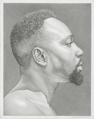 "Robert Schultz, ""Idowo"", 2015, silverpoint drawing on gessoed panel, 7"" x 5.75"""