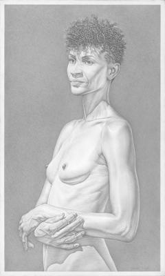 "Robert Schultz, ""Danene- Nude"", 2016, silverpoint drawing on gessoed panel, 15"" x 9"" image, 25 x 18"" frame"