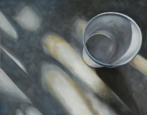 """Evelyn Woods, """"White Cup #2"""", 2015, oil on board, 11 x 14"""""""