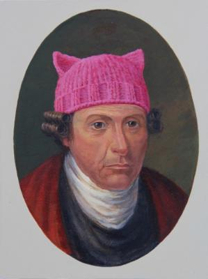 "Darlene Campbell, ""Patrick Henry Dons a Pussyhat"", 2017, acrylic on paper, 8"" x 6"""