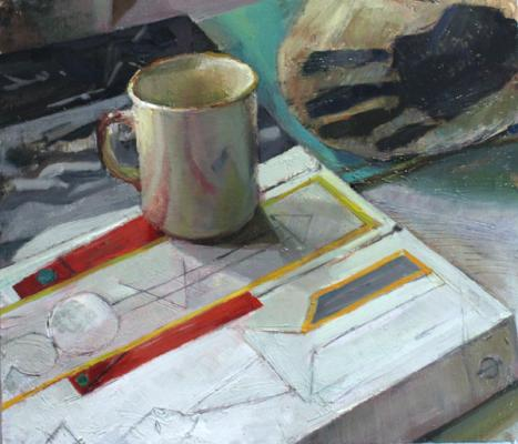 """""""In the Studio with Cup and Picasso"""", 2015, oil on panel, 14 x 16"""""""