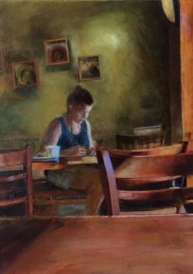 "Sally Cleveland, ""Interior with a Woman Sitting at a Table / After Hammershoi"", 2017, 7"" x 5"""