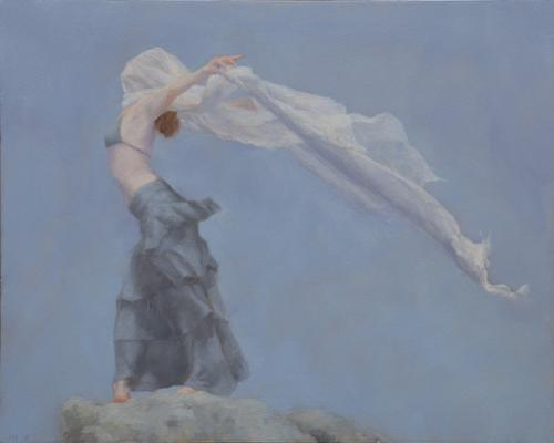 "Judy Nimtz, ""Into the Wind's Embrace"", 2018, Oil on Panel, 8"" x 10"""