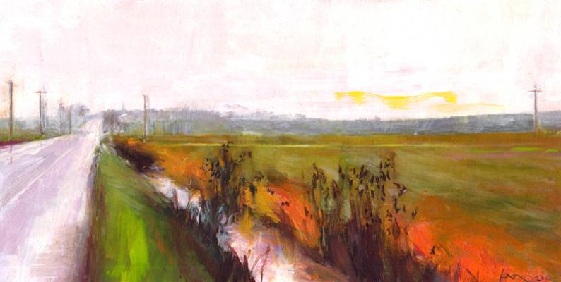 Irrigation Ditch Near Bower's Junction, 2012, oil on paper 3 7/8 x 7 1/2""