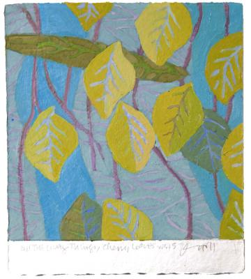 """All the Living Things: Cheary Leaves 1.1.15"", 2015, Oil on paper, 10.5"" x 9.5"""