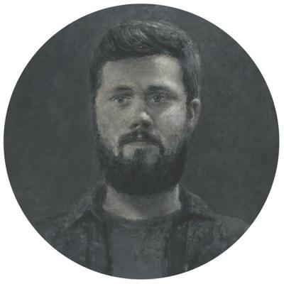 "Tim Lowly, ""Joe Schupbach"", 2011-14, acrylic on panel, 17 x 17"""