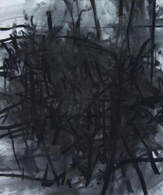 "J. Wolfson, ""Interior with Three Chairs IX"", 2012, charcoal on paper, 26 x 22"""