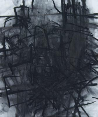 "J. Wolfson, ""Interior with Three Chairs VI"", 2012, charcoal on paper, 26 x 22"""