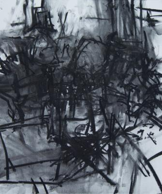 "J. Wolfson, ""Interior with Three Chairs VII"", 2012, charcoal on paper, 26 x 22"""