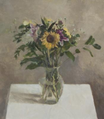 Jordan Wolfson, Still lIfe with Sunflower I, 2014, oil on linen, 25 x 22""