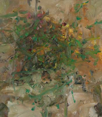 """Jordan Wolfson, """"Still Life with Sunflower II"""", 2014, oil on linen, 25 x 22"""""""