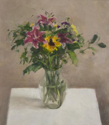 """Jordan Wolfson, """"Still Life with Sunflower III"""", 2014, oil on linen, 25 x 22"""""""