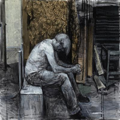 """Kathy Liao, """"Hunched"""", mixed media on canvas"""", 31 x 31"""""""