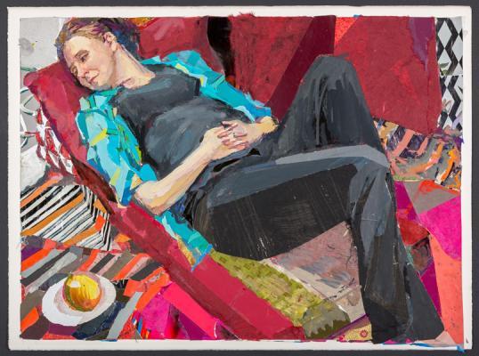 "Kathy Liao, ""Lorien"", 2013, gouache & collage on paper, 25 x 32.25"" im."
