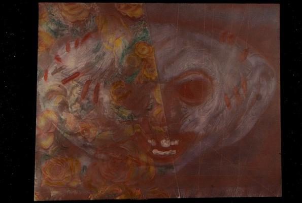 "Kathy Vargas, Masks Children Wear, Tortured Child Looking Through Borrowed Roses, 2013, hand-colored gelatin silver print, 20 x 24"" paper size, 24 x 30"" framed"