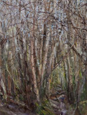 "Kathy Gore-Fuss, ""Birch Grove, Winter II, 2013, oil on linen, 16 x 12"" im."