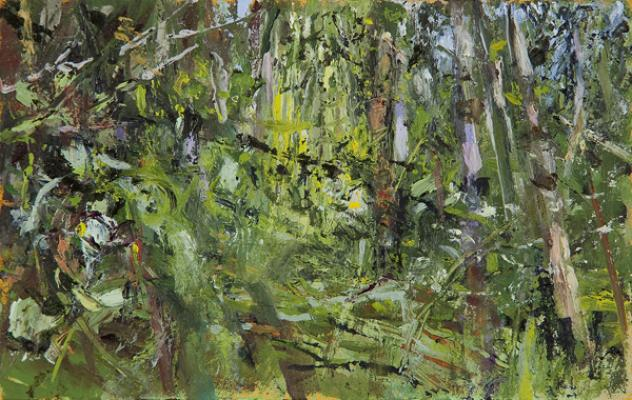 """Kathy Gore-Fuss, """"Forest Edge, Anderson Island I, 2014, oil on paper, 3 x 5"""" im."""