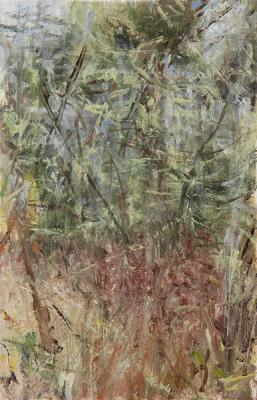 "Kathy Gore-Fuss, ""Lichen Limbs I"", 2013, oil on paper, 7.5 x 5"""